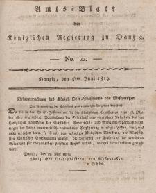 Amts-Blatt der Königlichen Regierung zu Danzig, 3. Juni 1819, Nr. 22