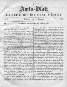 Amts-Blatt der Königlichen Regierung zu Danzig, 8. Januar 1868, Nr. 2