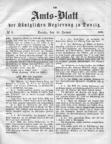Amts-Blatt der Königlichen Regierung zu Danzig, 15. Januar 1868, Nr. 3