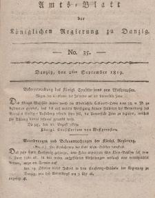 Amts-Blatt der Königlichen Regierung zu Danzig, 2. September 1819, Nr. 35