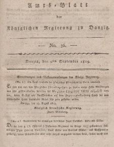 Amts-Blatt der Königlichen Regierung zu Danzig, 9. September 1819, Nr. 36
