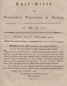 Amts-Blatt der Königlichen Regierung zu Danzig, 16. September 1819, Nr. 37