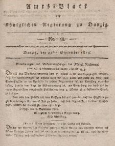 Amts-Blatt der Königlichen Regierung zu Danzig, 23. September 1819, Nr. 38