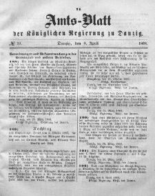 Amts-Blatt der Königlichen Regierung zu Danzig, 8. April 1868, Nr. 15