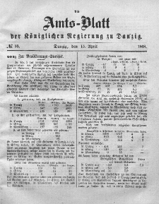 Amts-Blatt der Königlichen Regierung zu Danzig, 15. April 1868, Nr. 16