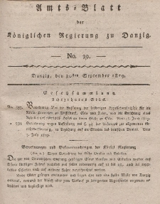 Amts-Blatt der Königlichen Regierung zu Danzig, 30. September 1819, Nr. 39