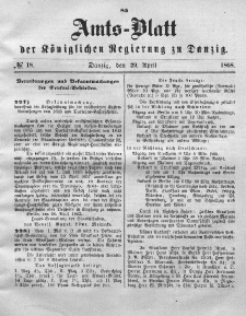 Amts-Blatt der Königlichen Regierung zu Danzig, 29. April 1868, Nr. 18
