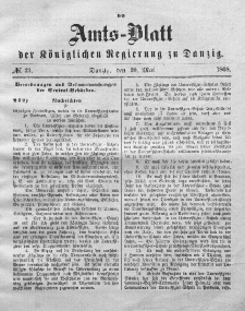 Amts-Blatt der Königlichen Regierung zu Danzig, 20. Mai 1868, Nr. 21