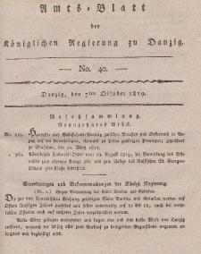 Amts-Blatt der Königlichen Regierung zu Danzig, 7. Oktober 1819, Nr. 40