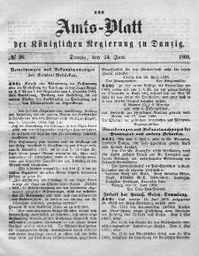Amts-Blatt der Königlichen Regierung zu Danzig, 24. Juni 1868, Nr. 26