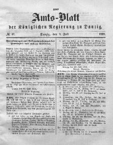 Amts-Blatt der Königlichen Regierung zu Danzig, 1. Juli 1868, Nr. 27