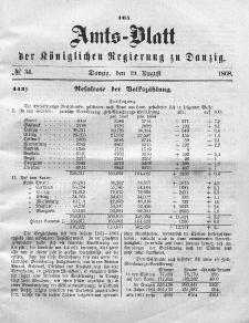 Amts-Blatt der Königlichen Regierung zu Danzig, 19. August 1868, Nr. 34