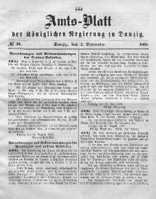 Amts-Blatt der Königlichen Regierung zu Danzig, 2. September 1868, Nr. 36