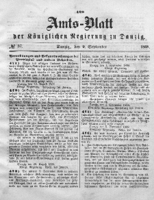Amts-Blatt der Königlichen Regierung zu Danzig, 9. September 1868, Nr. 37