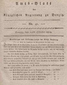 Amts-Blatt der Königlichen Regierung zu Danzig, 14. Oktober 1819, Nr. 41