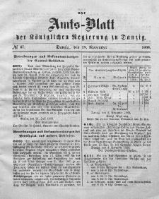 Amts-Blatt der Königlichen Regierung zu Danzig, 18. November 1868, Nr. 47