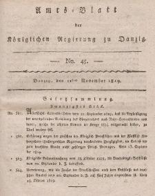 Amts-Blatt der Königlichen Regierung zu Danzig, 11. November 1819, Nr. 45
