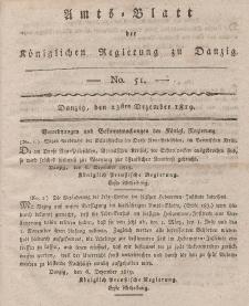 Amts-Blatt der Königlichen Regierung zu Danzig, 23. Dezember 1819, Nr. 51