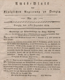 Amts-Blatt der Königlichen Regierung zu Danzig, 30. Dezember 1819, Nr. 52