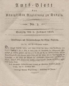 Amts-Blatt der Königlichen Regierung zu Danzig, 2. Januar 1828, Nr. 1