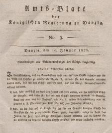 Amts-Blatt der Königlichen Regierung zu Danzig, 16. Januar 1828, Nr. 3