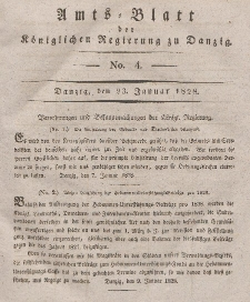 Amts-Blatt der Königlichen Regierung zu Danzig, 23. Januar 1828, Nr. 4