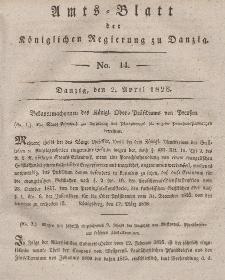 Amts-Blatt der Königlichen Regierung zu Danzig, 2. April 1828, Nr. 14