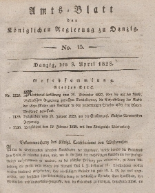 Amts-Blatt der Königlichen Regierung zu Danzig, 9. April 1828, Nr. 15