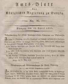 Amts-Blatt der Königlichen Regierung zu Danzig, 16. April 1828, Nr. 16