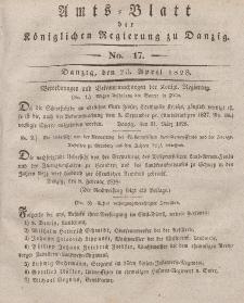 Amts-Blatt der Königlichen Regierung zu Danzig, 23. April 1828, Nr. 17