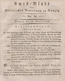 Amts-Blatt der Königlichen Regierung zu Danzig, 30. April 1828, Nr. 18