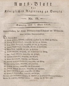 Amts-Blatt der Königlichen Regierung zu Danzig, 7. Mai 1828, Nr. 19
