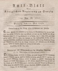 Amts-Blatt der Königlichen Regierung zu Danzig, 21. Mai 1828, Nr. 21