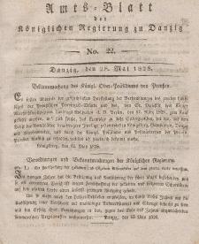 Amts-Blatt der Königlichen Regierung zu Danzig, 28. Mai 1828, Nr. 22