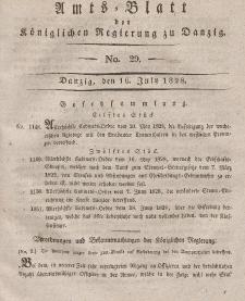 Amts-Blatt der Königlichen Regierung zu Danzig, 16. Juli 1828, Nr. 29