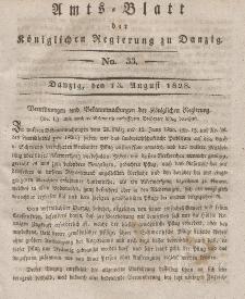 Amts-Blatt der Königlichen Regierung zu Danzig, 13. August 1828, Nr. 33