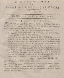Amts-Blatt der Königlichen Regierung zu Danzig, 10. September 1828, Nr. 37