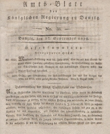 Amts-Blatt der Königlichen Regierung zu Danzig, 17. September 1828, Nr. 38