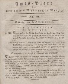 Amts-Blatt der Königlichen Regierung zu Danzig, 1. Oktober 1828, Nr. 40