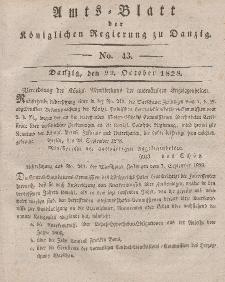 Amts-Blatt der Königlichen Regierung zu Danzig, 22. Oktober 1828, Nr. 43