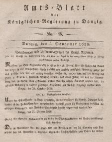 Amts-Blatt der Königlichen Regierung zu Danzig, 5. November 1828, Nr. 45