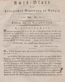 Amts-Blatt der Königlichen Regierung zu Danzig, 12. November 1828, Nr. 46