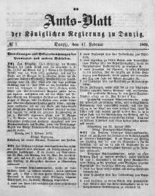 Amts-Blatt der Königlichen Regierung zu Danzig, 17. Februar 1869, Nr. 7