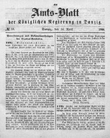 Amts-Blatt der Königlichen Regierung zu Danzig, 14. April 1869, Nr. 15