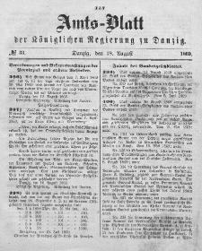 Amts-Blatt der Königlichen Regierung zu Danzig, 18. August 1869, Nr. 33