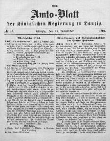 Amts-Blatt der Königlichen Regierung zu Danzig, 17. November 1869, Nr. 46