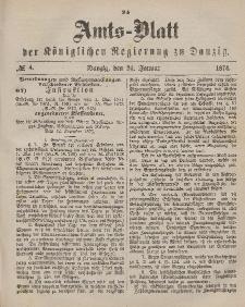 Amts-Blatt der Königlichen Regierung zu Danzig, 24. Januar 1874, Nr. 4