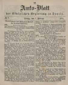 Amts-Blatt der Königlichen Regierung zu Danzig, 7. Februar 1874, Nr. 6