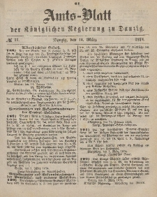 Amts-Blatt der Königlichen Regierung zu Danzig, 14. März 1874, Nr. 11