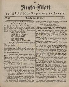 Amts-Blatt der Königlichen Regierung zu Danzig, 11. April 1874, Nr. 15